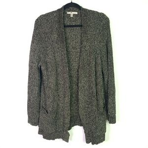 Seven7 Knit Cardigan Sweater Olive Green Pockets